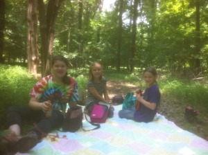 Campers on picnic lunch during a trail ride.